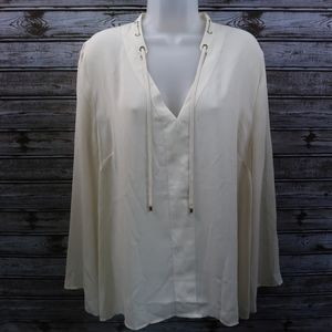Nautica Long Sleeve Blouse Sheer with Gold Tassels